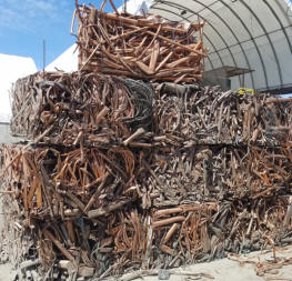 Compressed Copper pipe, baled for recycling